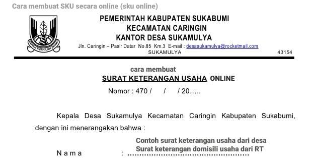 surat keterangan usaha dari desa, RT, SKU online