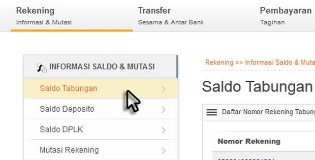 cek saldi internet banking bri
