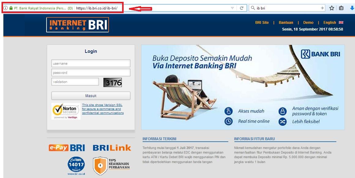 Halaman Login IB BRI Internet Banking